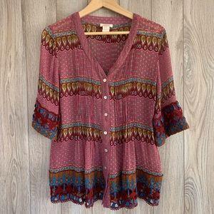 Sundance Silk Button Down with Crochet Knit Cuffs